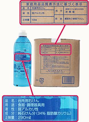 粉石鹸及び液体石鹸の表示の一例
