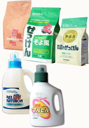 粉、または液体の洗濯用石鹸の一例