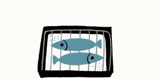 魚焼きグリルに重曹を敷き詰める
