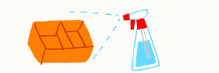 炭酸ソーダスプレーでプラスチック容器を洗うイラスト