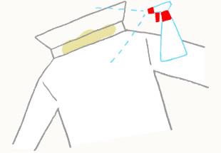 ワイシャツの衿・袖汚れのスプレーイラスト