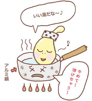 アルミ鍋のお風呂に入るアルカリと泣くお鍋